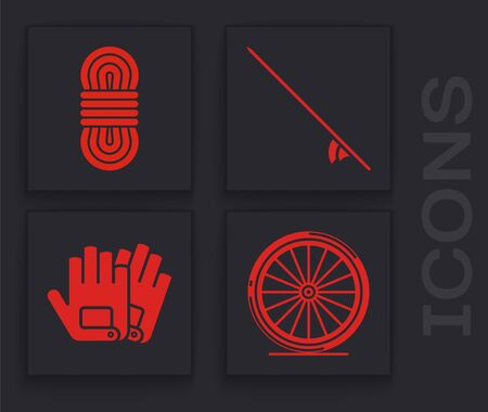 Set Bicycle wheel, Climber rope, Surfboard and Gloves icon. Vector