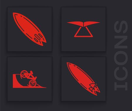 Set Surfboard, Surfboard, Hang glider and Bicycle on street ramp icon. Vector Ilustracja