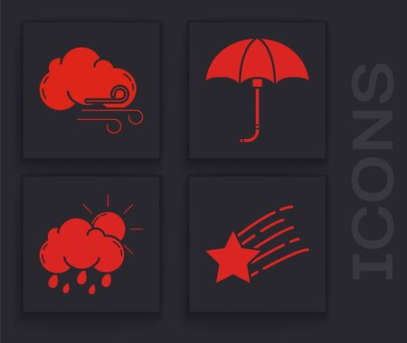 Set Falling star, Windy weather, Classic elegant opened umbrella and Cloud with rain and sun icon. Vector Иллюстрация