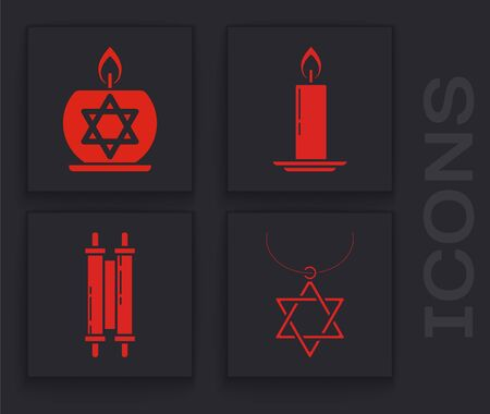 Set Star of David necklace on chain, Burning candle in candlestick with star of david, Burning candle in candlestick and Torah scroll icon. Vector Stock Illustratie