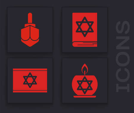 Set Burning candle in candlestick with star of david, Hanukkah dreidel, Jewish torah book and Flag of Israel icon. Vector