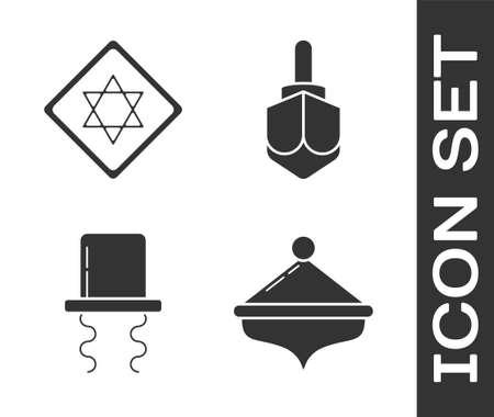 Set Hanukkah dreidel, Star of David, Orthodox jewish hat with sidelocks and Hanukkah dreidel icon. Vector Çizim