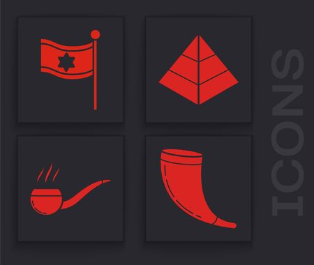 Set Traditional ram horn, shofar, Flag of Israel, Egypt pyramids and Smoking pipe with smoke icon. Vector