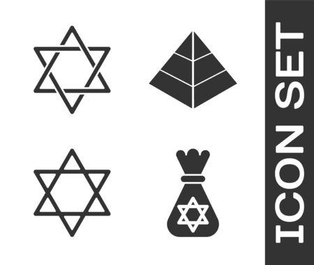 Set Jewish money bag with star of david, Star of David, Star of David and Egypt pyramids icon. Vector Ilustracja
