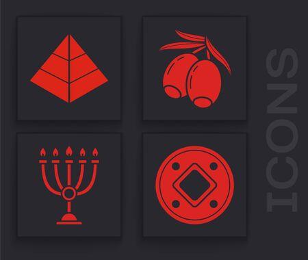 Set Jewish coin, Egypt pyramids, Olives branch and Hanukkah menorah icon. Vector Ilustracja