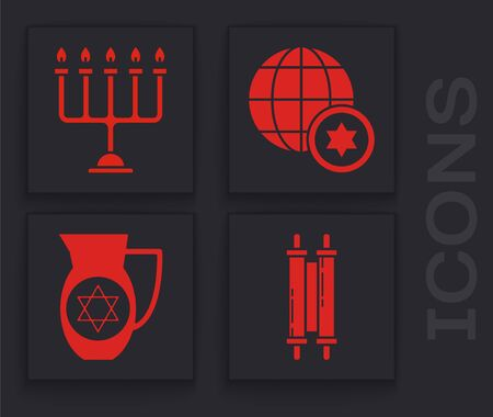 Set Torah scroll, Hanukkah menorah, World Globe and Israel and Decanter with star of david icon. Vector