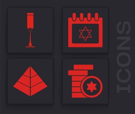 Set Jewish coin, Jewish goblet, Jewish calendar with star of david and Egypt pyramids icon. Vector