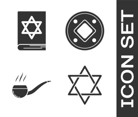 Set Star of David, Jewish torah book, Smoking pipe with smoke and Jewish coin icon. Vector