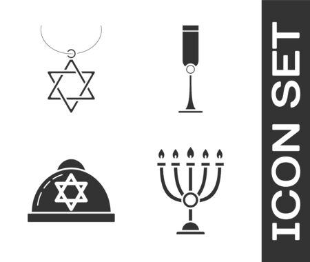 Set Hanukkah menorah, Star of David necklace on chain, Jewish kippah with star of david and Jewish goblet icon. Vector 向量圖像