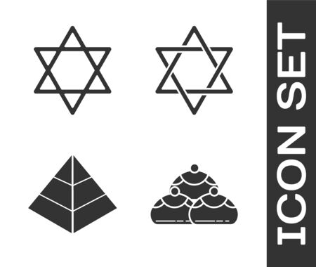 Set Jewish sweet bakery, Star of David, Egypt pyramids and Star of David icon. Vector