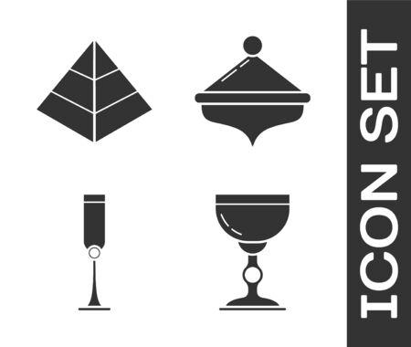 Set Jewish goblet, Egypt pyramids, Jewish goblet and Hanukkah dreidel icon. Vector