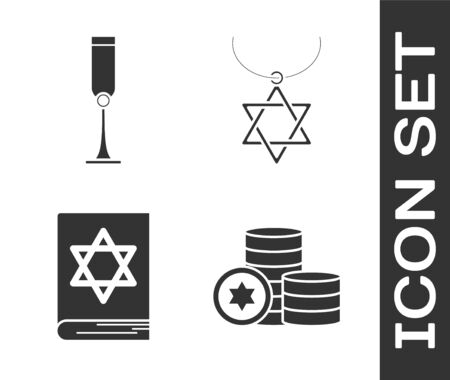 Set Jewish coin, Jewish goblet, Jewish torah book and Star of David necklace on chain icon. Vector Illustration