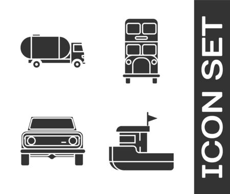 Set Fishing boat, Tanker truck, Off road car and Double decker bus icon. Vector