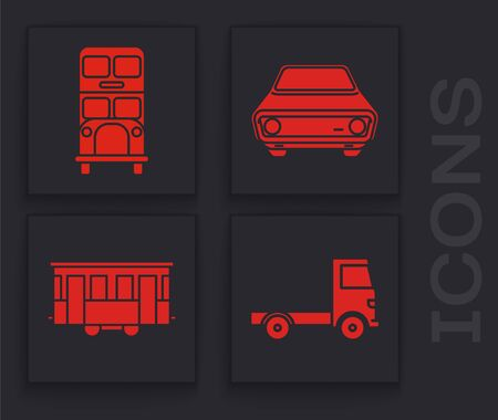 Set Delivery cargo truck vehicle, Double decker bus, Car and Old city tram icon. Vector