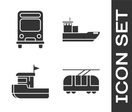 Set Tram and railway, Bus, Fishing boat and Cargo ship icon. Vector