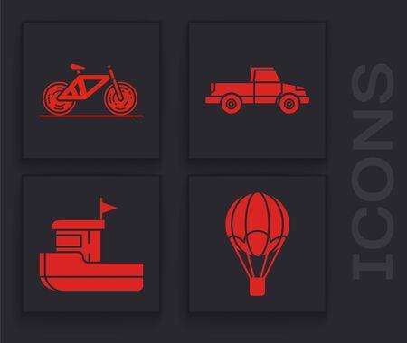 Set Hot air balloon, Bicycle, Pickup truck and Fishing boat icon. Vector