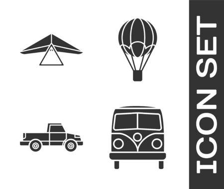 Set Retro minivan, Hang glider, Pickup truck and Hot air balloon icon. Vector Illustration