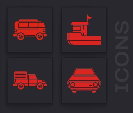Set Car, Retro minivan, Fishing boat and Delivery cargo truck vehicle icon. Vector