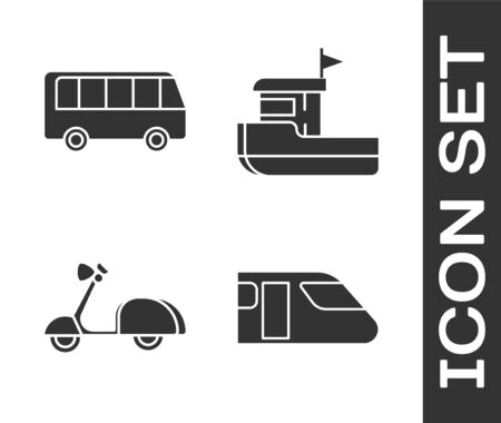 Set Train, Bus, Scooter and Fishing boat icon. Vector