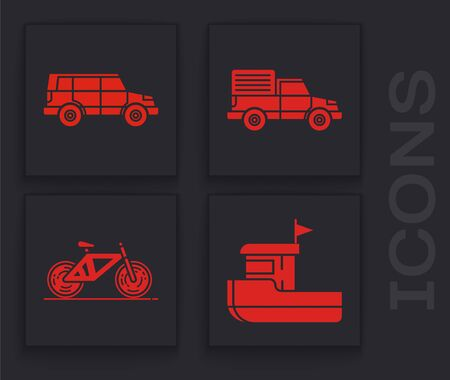 Set Fishing boat, Off road car, Delivery cargo truck vehicle and Bicycle icon. Vector Stock Illustratie