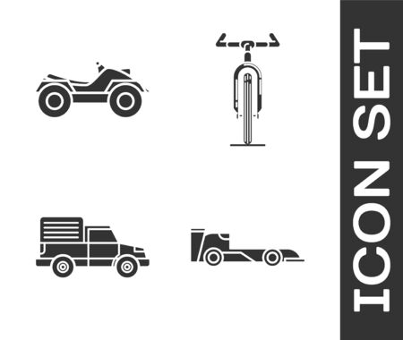 Set Formula race car, All Terrain Vehicle or ATV motorcycle, Delivery cargo truck vehicle and Bicycle icon. Vector
