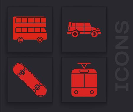 Set Tram and railway, Double decker bus, Off road car and Skateboard icon. Vector