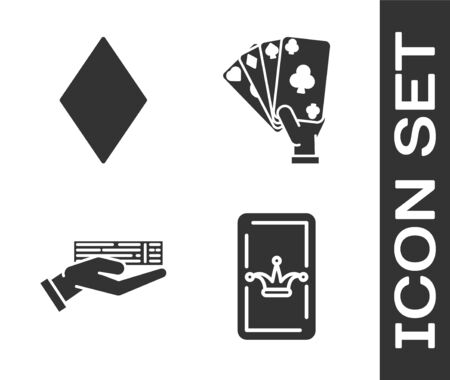 Set Joker playing card, Playing card with diamonds symbol, Hand holding deck of playing cards and Hand holding playing cards icon. Vector