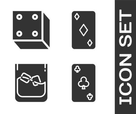 Set Playing card with clubs symbol, Game dice, Glass of whiskey and ice cubes and Playing card with diamonds symbol icon. Vector
