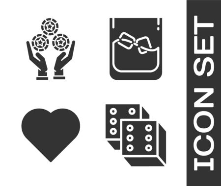 Set Game dice, Hand holding casino chips, Playing card with heart symbol and Glass of whiskey and ice cubes icon. Vector
