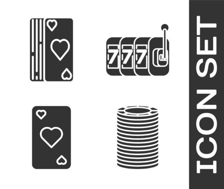 Set Casino chips, Deck of playing cards, Playing card with heart symbol and Slot machine with lucky sevens jackpot icon. Vector