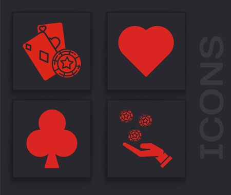 Set Hand holding casino chips, Casino chip and playing cards, Playing card with heart symbol and Playing card with clubs symbol icon. Vector