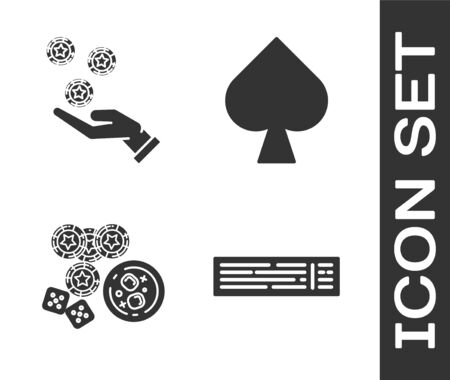 Set Deck of playing cards, Hand holding casino chips, Casino chips, game dice and glass of whiskey with ice cubes and Playing card with spades symbol icon. Vector