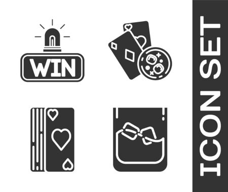 Set Glass of whiskey and ice cubes, Casino win, Deck of playing cards and Playing cards and glass of whiskey with ice cubes icon. Vector