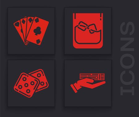 Set Hand holding deck of playing cards, Playing cards, Glass of whiskey and ice cubes and Game dice icon. Vector