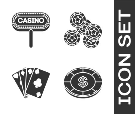 Set Casino chip with dollar symbol, Casino signboard, Playing cards and Casino chips icon. Vector