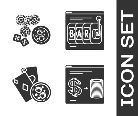 Set Online casino chips exchange on stacks of dollars, game dice and glass of whiskey with ice cubes, Playing cards and glass of whiskey with ice cubes and Online slot machine icon. Vector