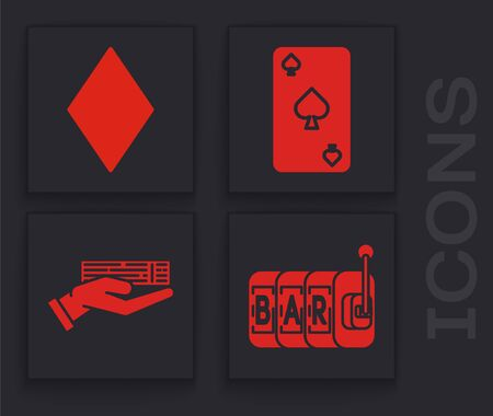 Set Slot machine, Playing card with diamonds symbol, Playing card with spades symbol and Hand holding deck of playing cards icon. Vector Ilustrace