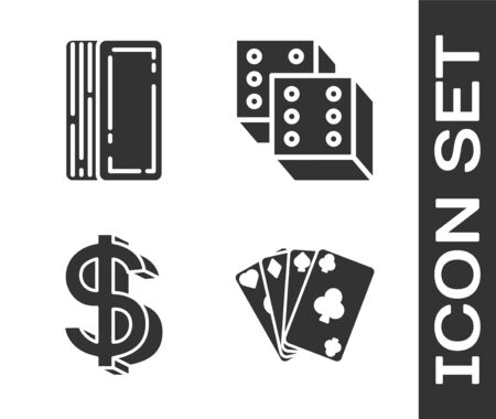 Set Playing cards, Deck of playing cards, Dollar symbol and Game dice icon. Vector