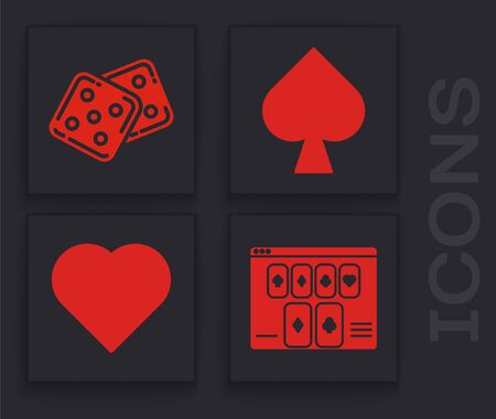 Set Online poker table game, Game dice, Playing card with spades symbol and Playing card with heart symbol icon. Vector Ilustrace