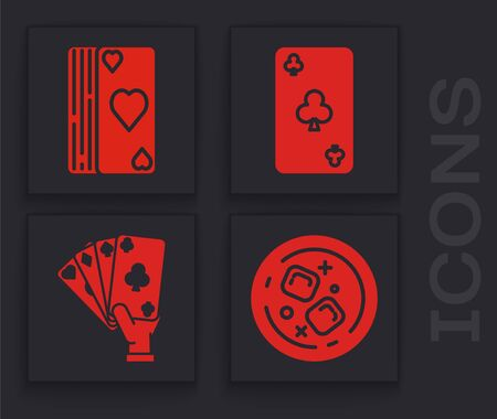 Set Glass of whiskey and ice cubes, Deck of playing cards, Playing card with clubs symbol and Hand holding playing cards icon. Vector