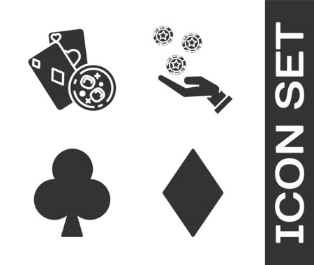 Set Playing card with diamonds symbol, Playing cards and glass of whiskey with ice cubes, Playing card with clubs symbol and Hand holding casino chips icon. Vector
