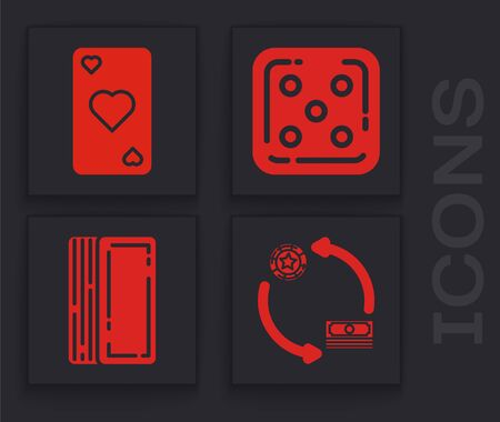 Set Casino chips exchange on stacks of dollars, Playing card with heart symbol, Game dice and Deck of playing cards icon. Vector