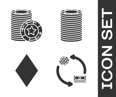 Set Casino chips exchange on stacks of dollars, Casino chips, Playing card with diamonds symbol and Casino chips icon. Vector