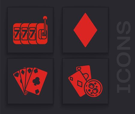 Set Playing cards and glass of whiskey with ice cubes, Slot machine with lucky sevens jackpot, Playing card with diamonds symbol and Playing cards icon. Vector