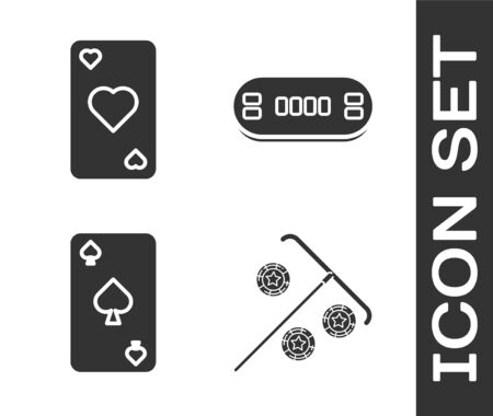 Set Stick for chips, Playing card with heart symbol, Playing card with spades symbol and Poker table icon. Vector