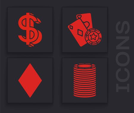 Set Casino chips, Dollar symbol, Casino chip and playing cards and Playing card with diamonds symbol icon. Vector Ilustrace