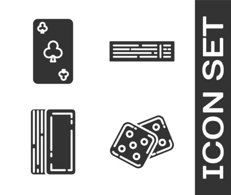 Set Game dice, Playing card with clubs symbol, Deck of playing cards and Deck of playing cards icon. Vector