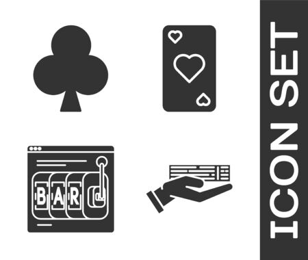 Set Hand holding deck of playing cards, Playing card with clubs symbol, Online slot machine and Playing card with heart symbol icon. Vector