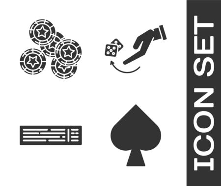 Set Playing card with spades symbol, Casino chips, Deck of playing cards and Human hand throwing game dice icon. Vector