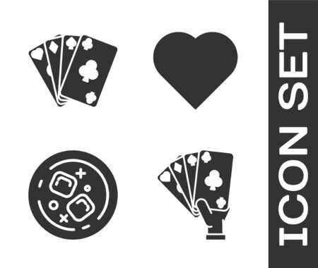 Set Hand holding playing cards, Playing cards, Glass of whiskey and ice cubes and Playing card with heart symbol icon. Vector